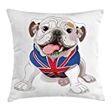 FAFANI English Bulldog Throw Pillow Cushion Cover, Happy Dog Wearing a Union Jack Vest Cartoon Style Animal Design, Decorative Square Accent Pillow Case, 18 X 18 Inches, Cream Navy Blue Red