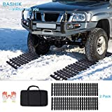 "BASHIK Portable Recovery Traction Mat Tracks for Car/Truck in Mud, Snow, Ice,Sand Emergency Strong Grasping Strength W:10.6"" X L:39.5"" 2 Gloves and 1 Bag Attached (2 Pack)"