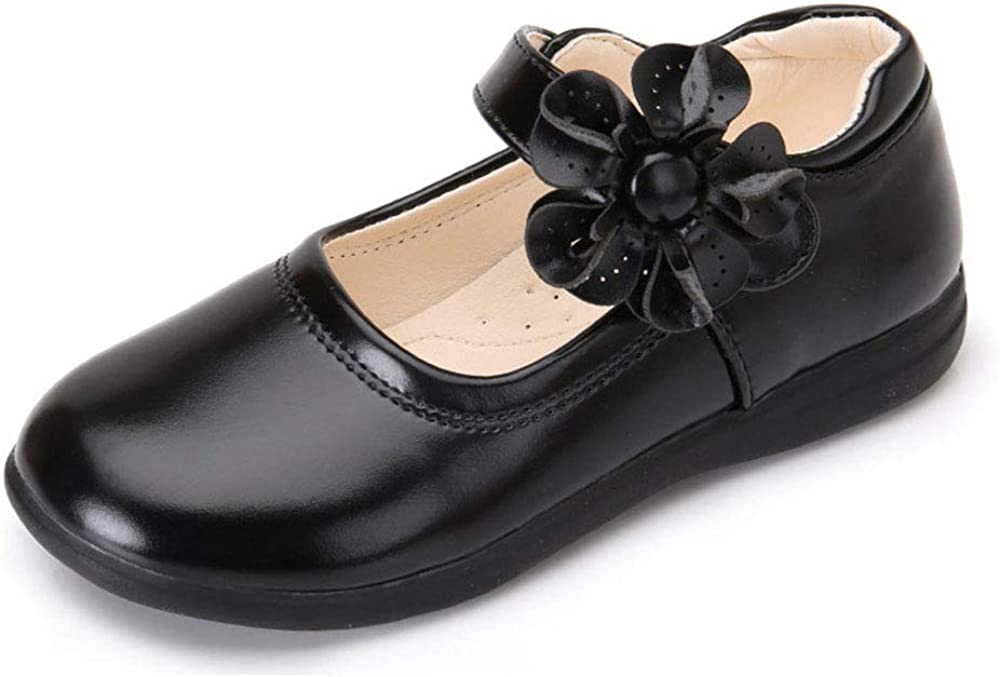 YYFURR Girl's Leather Shoes School Uniform Shoes Strap Dress Uniform Flats Shoes (Toddler/Little Girl/Big Girl)