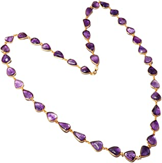 """TIBETAN SILVER Genuine Purple Amethyst Gemstone 34"""" Long Chain Necklace for Women, 925 Sterling Silver and Gold Plated Leaf Engraved Design Elegant Party Modern Unique Fashion Handmade Jewellery"""