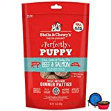 Stella & Chewy's Freeze Dried Dog Food Patties,Snacks Perfectly Puppy 14 Oz Bag with Hotspot Pets Food Bowl - Made in USA (Beef & Salmon)