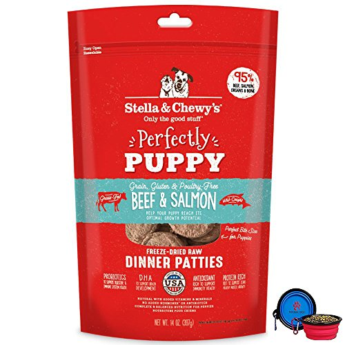 Stella & Chewys Freeze Dried Dog Food Patties,Snacks Perfectly Puppy 14 Oz Bag with Hotspot Pets Food Bowl - Made in USA (Beef & Salmon)