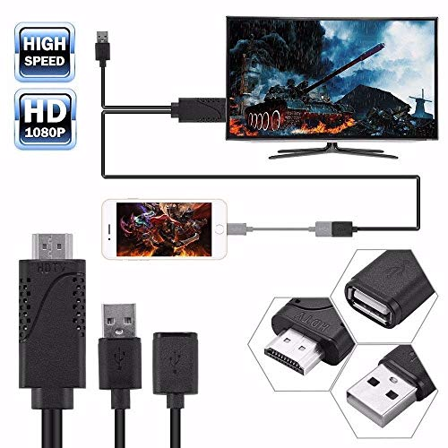 Accreate USB Female to HDMI Male HDTV Adapter Cable for iPhone8/ 7/ 7plus/ 6s/ 6 Plus Black