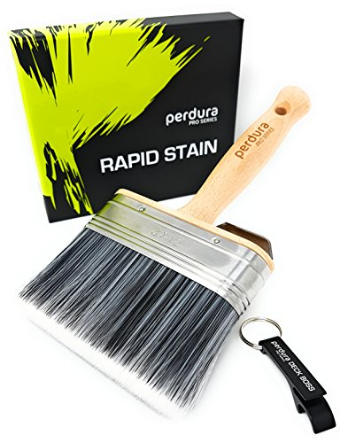 Deck Stain Brush Applicator - Rapid Stain by Perdura - Fence Floor Tool - 5 Inch Paint Brush - Stain Seal and Paint Fast - Water and Oil Based Coatings for Wood and Concrete Rough or Smooth