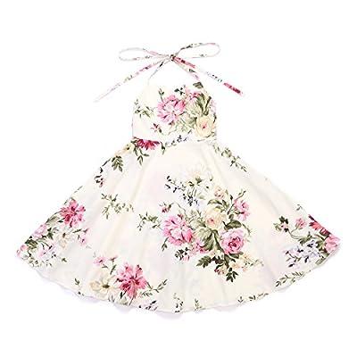 Flofallzique Floral Girls Dress Vintage Toddler Dress Birthday Baby Girls Cream Summer Party Dress