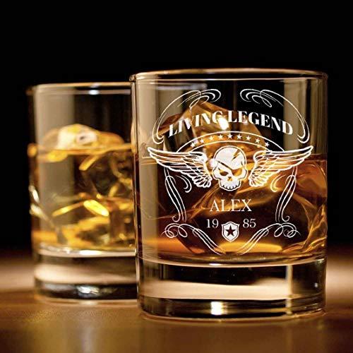 Whiskyglas mit Gravur (Totenkopf-Design) | Whiskey-Glas mit massivem Boden personalisierbar mit Namen und Datum | Geschenkidee für wahre Geniesser