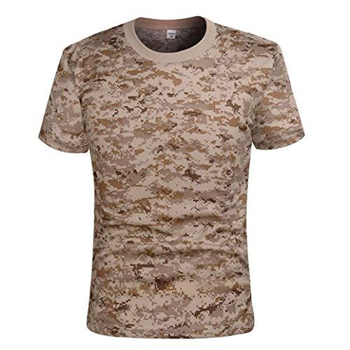 De Secado rápido de Camuflaje táctico Camisa de Manga Corta de los Hombres de Combate Camiseta Militar del Ejército T Shirt Camo al Aire Libre Senderismo Caza Camisas Caqui XL