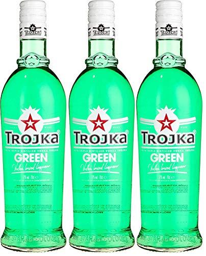 3 Flaschen Trojka Wodka Grün Granatapfel a 0,7l 17% vol.
