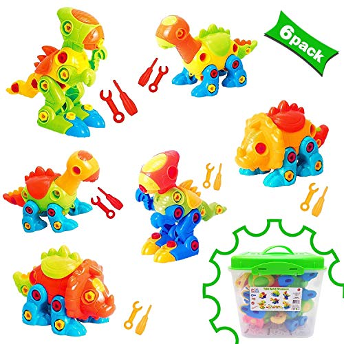 Dinosaur Toys Take Apart Toys With Tools 218 pieces  Pack of 6 Dinosaurs With 12 Tools And a Beautiful Container  Stem Toys for Boys amp Girls Age 3  12 years old