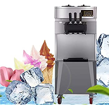 Commercial Ice Cream Machine,vinmax 20L/H 1850W Stand Commercial Three Flavors Ice Cream Machine 304 Stainless Steel Automatic Perfect for Restaurants Snack Bar supermarkets US Shipping