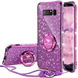 Galaxy Note 8 Case, Glitter Luxury Cute Phone Case Girls with Kickstand, Bling Diamond Rhinestone Bumper with Ring Stand Sparkly Protective Samsung Galaxy Note 8 Case for Girl Women - Violet Purple