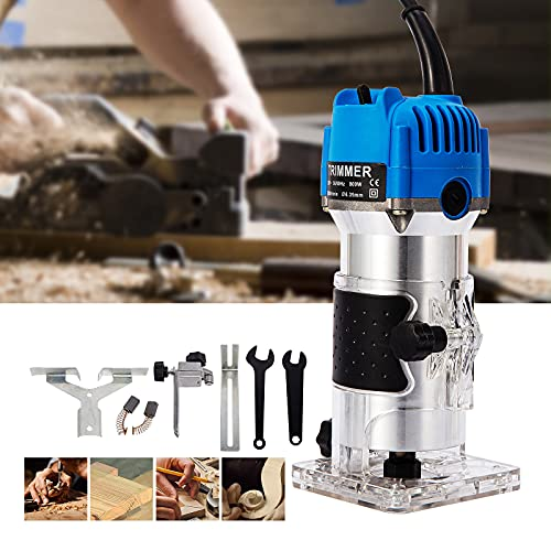 "Wood Routers,Wood Trimmer Router Tool Compact Wood Palm Router Tool Hand Trimmer WoodWorking Joiner Cutting Palmming Tool 30000RPM 1/4"" Collets 800W 110V"
