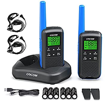 Walkie Talkies - GOCOM G600 FRS Two Way Radio for Adults 2W Long Range Walkie Talkie Rechargeable VOX Scan NOAA & Weather Alerts LED Lamplight 2 Pack Hand held radios