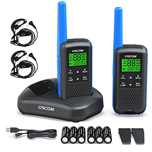 GOCOM G600 FRS Walkie Talkies for Adults 2W Long Range Two Way Radio Rechargeable, VOX Scan, NOAA & Weather Alerts, LED Lamplight 2 Pack Hand held radios