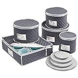 mDesign Juego de 5 cajas de embalaje para vajilla – Organizador de platos para cubrir y transportar vajilla para 12 personas – Sistema de almacenaje con protectores de fieltro – azul marino/gris