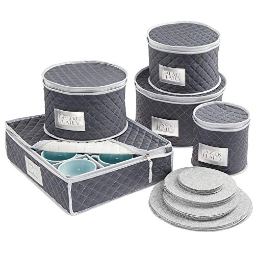 mDesign Quilted Dinnerware Storage 5 Piece Set for Protecting and Transporting Fine China, Dishes, Plates, Cups - Holds Service for 12 - Felt Protectors Included with Each Round Bin - Navy Blue/Gray