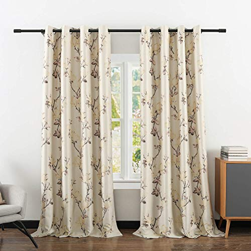 """VOGOL Blackout Curtains Magnolia Design Pattern, Living Room Dining Bedroom Classic Window Curtains, Room Darkening Thermal Insulated Drapes Grommet Top, 2 Panels 52"""" Wx96 L"""