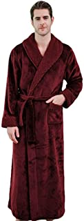 YiyiLai Men Plush Fleece Belt Pockets Full Length Warm Winter Bathrobe Dressing Gown
