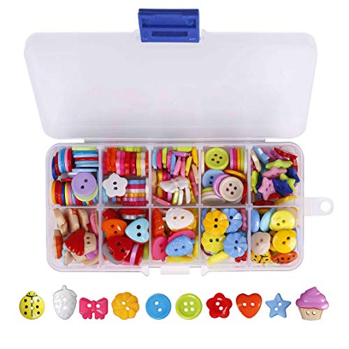 QH-Shop Knöpfe Harz Tasten Candy Farben Kleine Knöpfe mit Kunststoff Box für Nähen Handwerk Scrapbooking und DIY Handgefertigte Verzierung 235 Stück