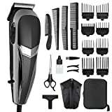 Cosyonall Hair Clippers for Men/Father/Husband/Boyfriend, 21 Pieces Professional Corded Clippers for Hair Cutting Beard Trimmer Barbers Grooming Kit with 8 Guide Combs & 1 Storage Bag, for Family Use