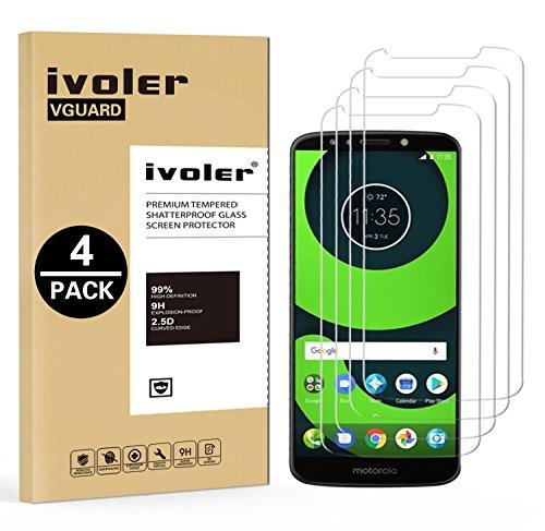 ivoler [4 Stücke] Panzerglas Schutzfolie für Motorola Moto G6 Play/Motorola Moto E5, 9H Festigkeit, Anti- Kratzer, Bläschenfrei, [2.5D R&e Kante]