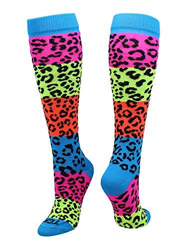 TCK Neon Rainbow Fun Print OTC Socks (Leopard Print, Small)