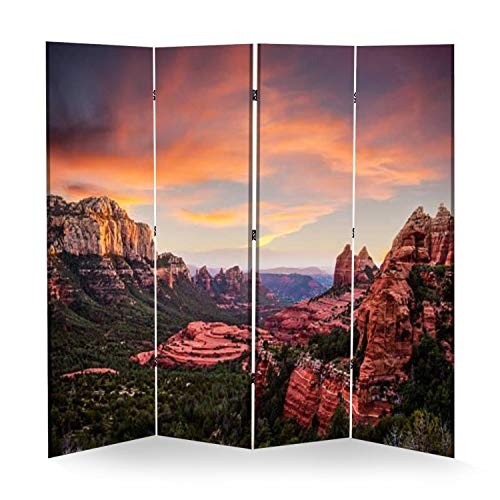 4 Panel Wall Divider Red Rocks Sunset Sedona Folding Canvas Privacy Partition Screen Room Divider Sound Proof Separator Freestanding Protective Divider