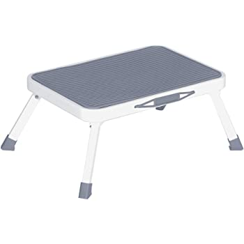 """Sattiyrch Step Stool for Adult,Portable Folding Metal Small One Step Stool with Non Slip Platform,6.8""""(H),330 Pound Capacity"""
