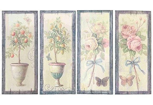 DiKasa Home Set Pannelli Fiori, Legno, Multicolore, 70x2x30 cm