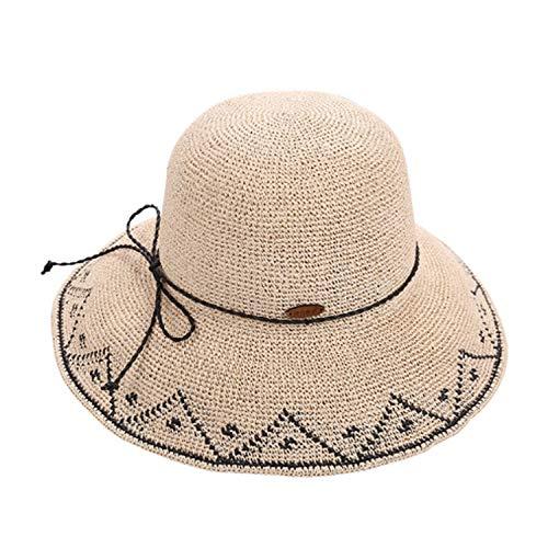 XFGBTJKYUT XFGBTJKYUT Der Strohhut-Sommer-Strand-Hut-Strand der Küste Sun Hut-Schatten-Hut der Frauen (Color : A, Size : M)