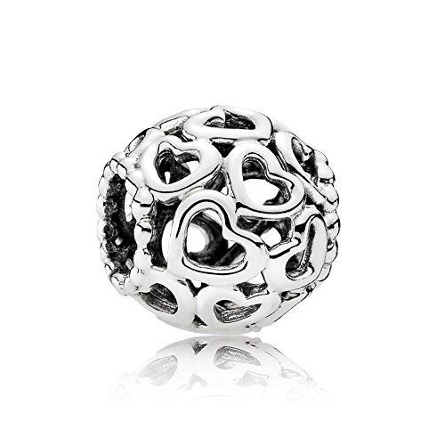 NINGAN Open Your Heart Charm de Plata de Ley 925 Colgantes Pandora, Pulseras Europeos Compatible