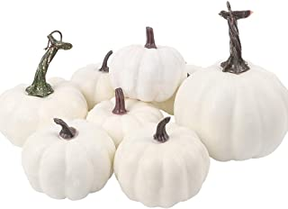 AGEOMET 8pcs Artificial Pumpkin Assorted Size Harvest Off White Artificial Pumpkins Fake Vegetables Ornaments for Halloween, Fall and Thanksgiving Party Decoration
