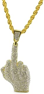 Hiphop Iced Out Full Rhinestone Gold Plated Big Middle Finger Pendants Necklaces with 6mm Stainless Steel Rope Chain Chain Jewelry