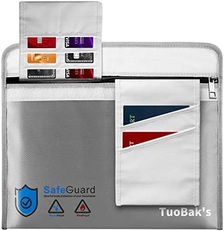 Fireproof Waterproof Money Document Bag 15 8 x 11 1 Fireproof Bag for Documents with 6 Card product image