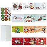 Paquete de 24 tarjetas de Navidad, 12 diseños, tarjetas de felicitación de Navidad con 24 sobres, 24 pegatinas de Navidad para niños, adultos, familia, amigos, feliz día festivo, Año Nuevo