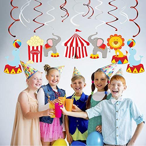 Bdecoll Decoración 30 Piezas,Decoraciones temáticas de la fiesta de cumpleaños del circo, serpentinas del techo, decoración colgante de la atracción del carnaval para los niños
