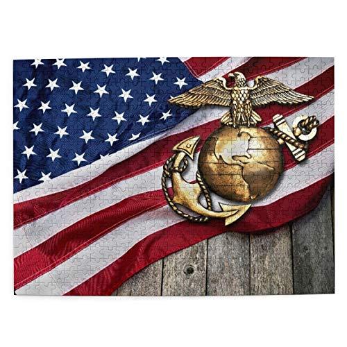 DAHALLAR Mittlere Größe Jigsaw-Puzzles 500 Stücke,Marine Eagle,Globe und Anker mit amerikanischer Flagge, Lustig Familienspiel Hängende Heimdekoration,20.4' x 15'