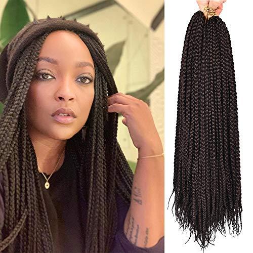 Alileader 24 Inch Box Braids Crochet Hair 1cm in Diameter 3X Synthetic Braiding Hair Extensions Crochet Braids Hair 6 Packs/Lot 22 Strands/Pack (#2)