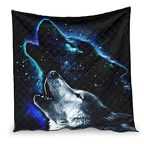 Dessionop Fantasy Heulen - Funda para sofá (100 x 150 cm), diseño de lobo, color blanco