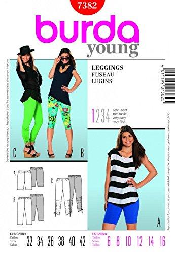 Burda Damen Schnittmuster Easy Young Fashion-Leggings 7382 Größen: 39-50