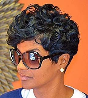 RUISENNA Short Black Curly Wigs Pixie Cut Curly Human Hair Wigs Brazilian Hair None Lace Wigs