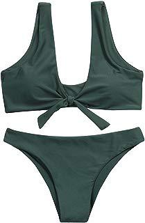 EOWEO Anniversary celebration Women Swimwear Women Knotted Padded Thong Bikini Mid Waisted Scoop Swimsuit Beach Swimwear