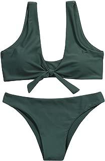 Anniversary celebration Women Swimwear Women Knotted Padded Thong Bikini Mid Waisted Scoop Swimsuit Beach Swimwear