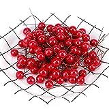 100pcs Ciliegie Artificiali Realistico Simulazione Agrifoglio Rosso Natale Modello Frutta Finta per Decorazione Casa per la Casa Decorazione per Appendere gli Ornamenti