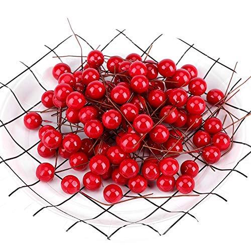100 unids Cerezas Artificiales Decoración, Simulación Rojo Holly Berry Fake Modelo de Frutas para el Hogar Decoración de la Fiesta de Cocina Ornamentos Colgantes