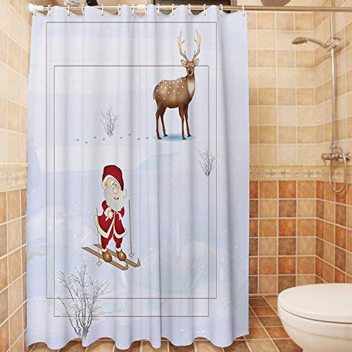 XIAOBAOZIYS Duschvorhang,wasserdichte Schimmel Nachweis Resistent Waschbar Bad Vorhang, Weihnachtsmann Ski Cartoon, 3D-Duschvorhänge Mit 12 Haken Für Bad, 70 × 78-Zoll (180 X 200 cm)