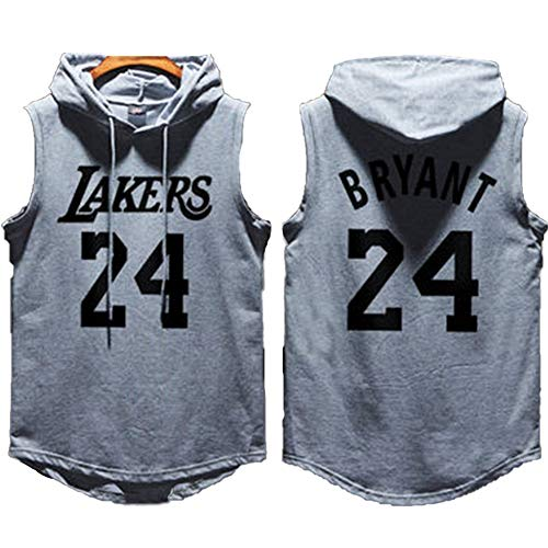 Männer Basketball Hoodie Trikot Los Angeles Lakers # 24 Kobe Bryant, ärmelloses Pullover-Basketball-T-Shirt mit Kapuze, Outdoor-Sportbekleidung für Fans-Grey-L(180CM/70KG)