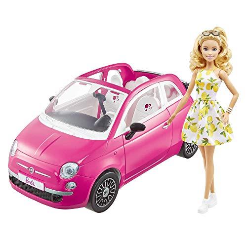 Barbie con su coche Fiat Muñeca rubia con vestido de moda y...