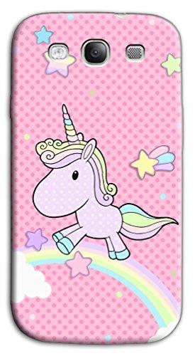 Mixroom - Cover Custodia Case in TPU Silicone Morbida per Samsung Galaxy S3 Neo i9301 i9300 W348 Unicorno Arcobaleno