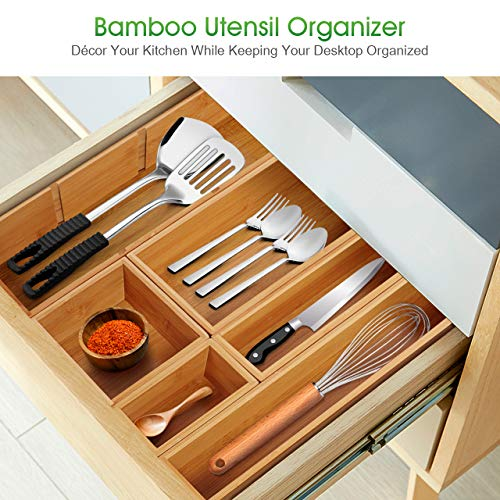 Kootek 6-Piece Bamboo Kitchen Drawer Organizer, 8 Compartments 100% Pure Bamboo Cutlery and Utensils Tray, Silverware Organizer, Adjustable Drawer Divider for Kitchen Utensils, Flatware, Cutlery